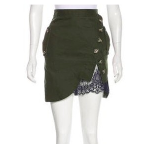 self-portrait Mini Mini Skirt army green with navy lace