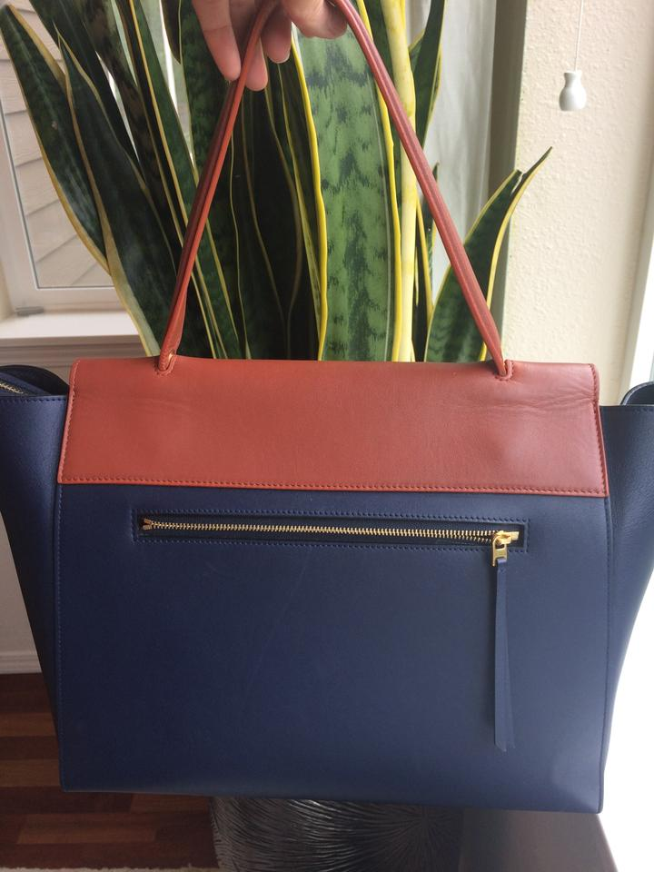 and In Navy Small Belt Tote Smooth Brown Calfskin Blue Céline SgqYCHWw
