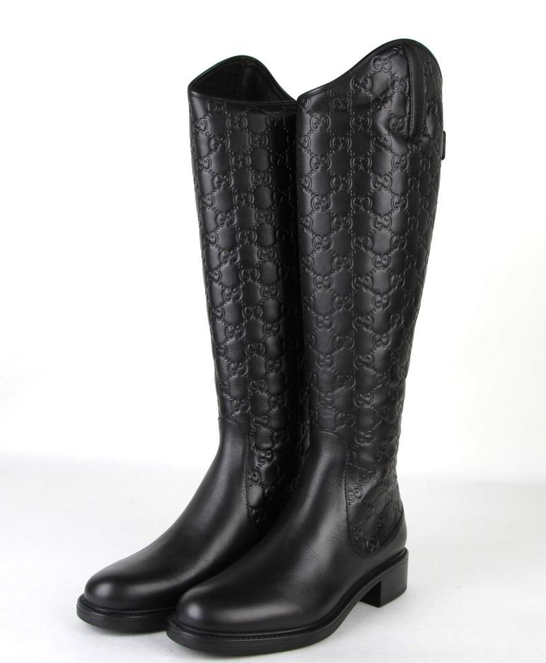 3b01c8d5a38 Gucci Black Maud Guccissima Leather Riding with Zipper Boots Booties ...