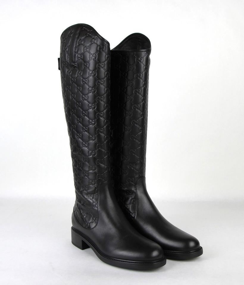 0ed077079 Gucci Women's Guccissima Leather Riding Black Boots Image 7. 12345678