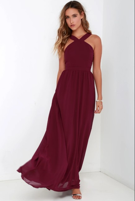 Item - Burgundy Polyester Romance Air Of Formal Bridesmaid/Mob Dress Size 4 (S)