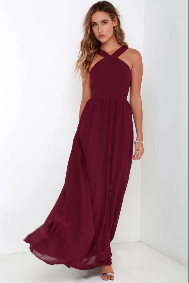 1b4165d3f01 Lulu s Burgundy Polyester Air Of Romance Formal Bridesmaid Mob Dress Size 4  ...