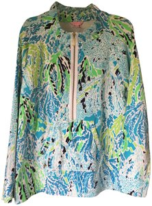 Lilly Pulitzer Cozy Terry Popover Multi Color Exposed Zipper Sweater