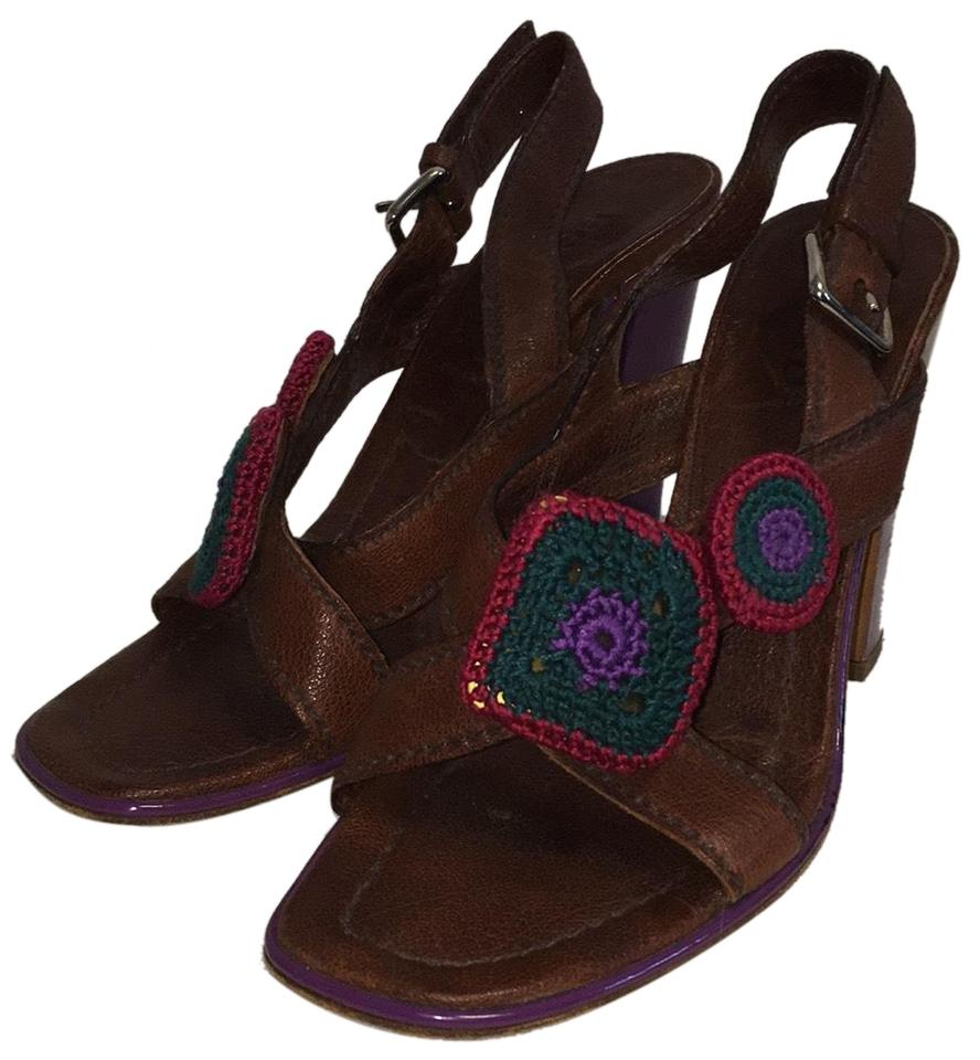Prada Brown With Crochet Detail Detail Crochet Sandals 1b5fc3
