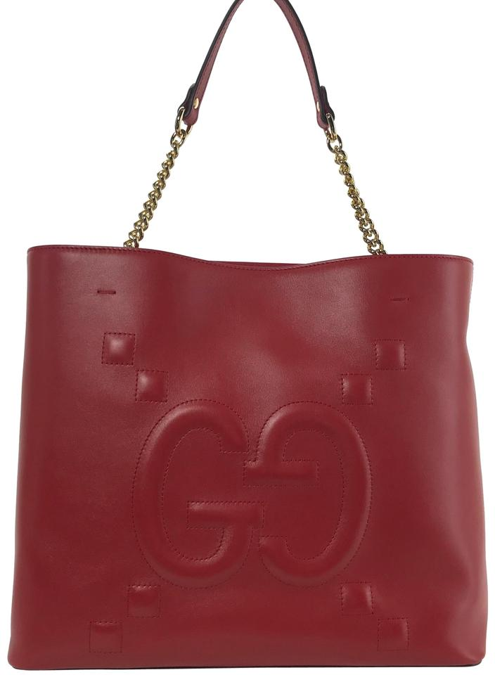 5711a7836a Gucci 453561 Apollo with Embossed Tote Red Leather Shoulder Bag ...