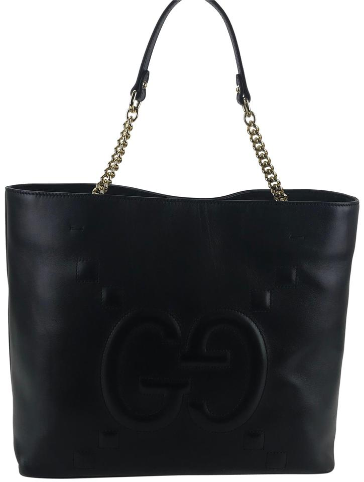 2578506db946 Gucci 453561 Apollo with Embossed Gg Tote Brand Black Leather ...