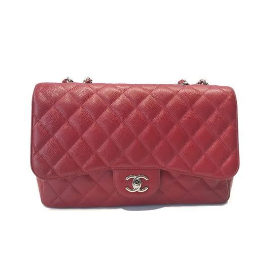 98d64fb3a16a Chanel Classic Quilted Single Flap Jumbo Caviar Red Leather Shoulder ...