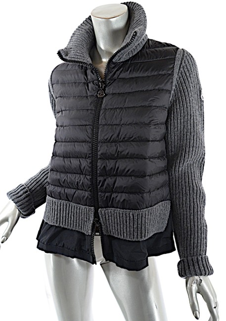 Item - Black and Grey Nylon Down Filled Zip with Wool Rib Sweater Jacket Size 12 (L)