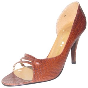 """London Fog 3.75"""" Mint Vintage shades of brown textured snakeskin leather open toe d'orsay stiletto heels Pumps"""