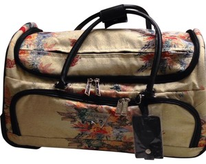 Guess Oriental Duffle Rolling Duffle Rolling Light Yellow & Black Floral Travel Bag