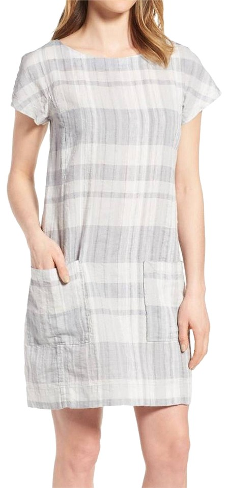 7838024024 Eileen Fisher Chambray Gray Airy Organic Linen Cotton Plaid Shift Pl Casual  Dress