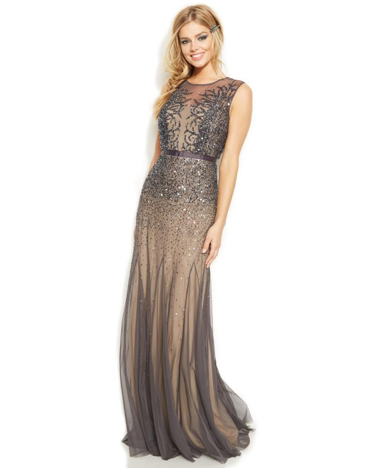 Adrianna Papell Gunmetal New Sleeveless Beaded Illusion Gown Long ...