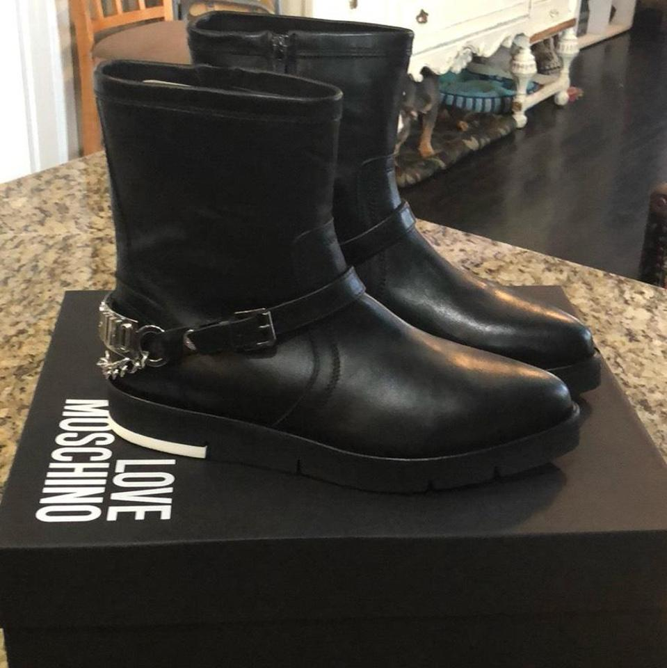 WOMENS Boots/Booties Love Moschino Black Moto Boots/Booties WOMENS New c73cad