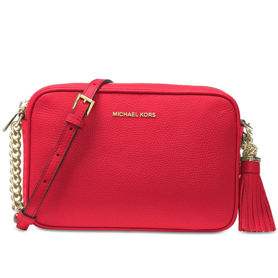 fd95cca7c604 MICHAEL Michael Kors Ginny Md Camera Red Leather Cross Body Bag ...