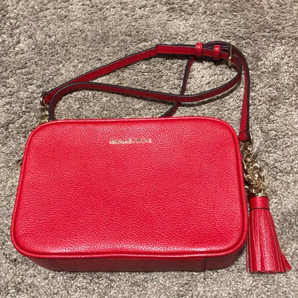 da49d9f63349 MICHAEL Michael Kors Ginny Md Camera Red Leather Cross Body Bag - Tradesy