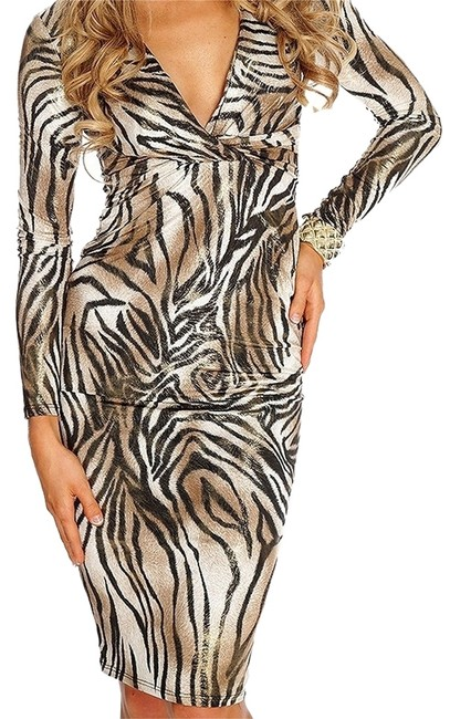 Va Va Voom Animal Print Shimmer Theme Party Cocktail Sexy Longsleeve Party American Hustle Dress