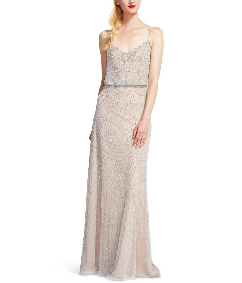 7e0f465da20aac Adrianna Papell Silver Nude Silver Nude Women s Beaded Blouson Gown Formal  Dress