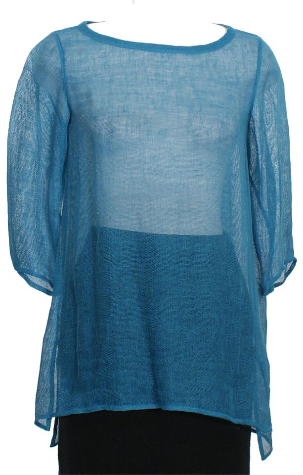 9660d58cfb Eileen Fisher Jewel Blue Organic Linen Mesh Tunic Ps Blouse Size ...