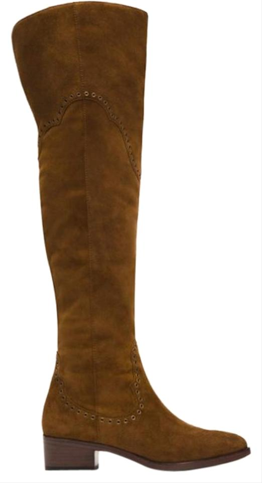 7d5c4b364b1 Frye Suede Over-the-knee Metallic Hardware Studded Wood Boots Image 0 ...