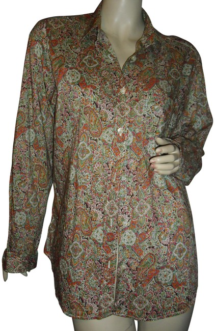 Item - Orange Olive Green Brown Made In Floral Cotton French Vintage Paisley Blouse Size 12 (L)