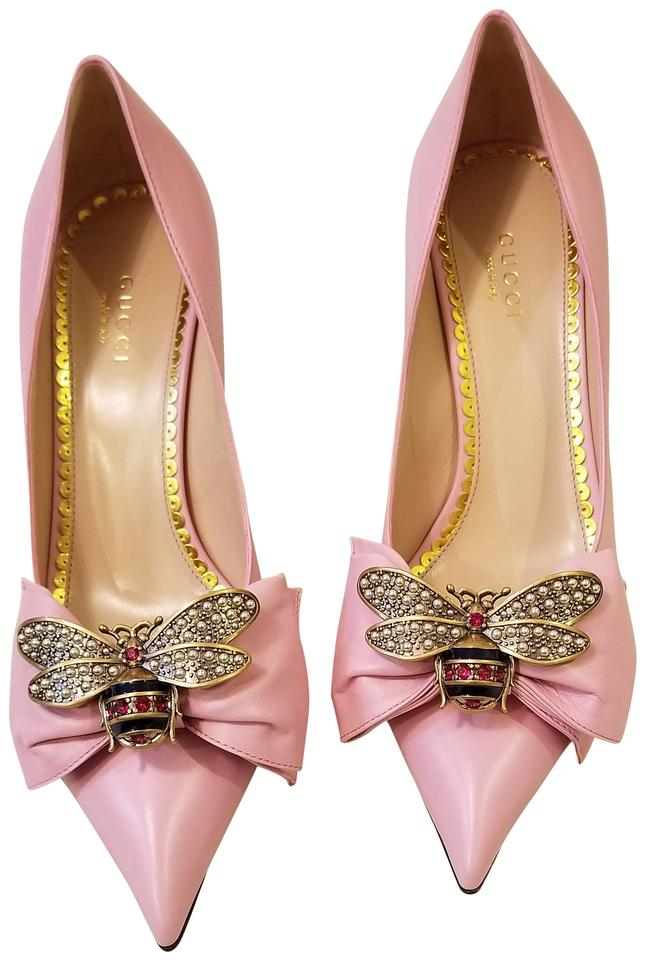53123018dab5 Gucci Sugar Pink Queen Margaret Leather Bee Bow Pumps Size EU 38 ...
