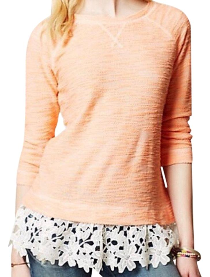 614c45d48051b3 Anthropologie Sunday In Brooklyn Lace Dipped Coral Sweater - Tradesy