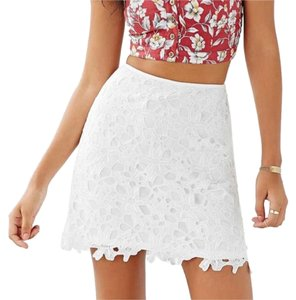 Urban Outfitters Crochet Floral Lace Mini Skirt White