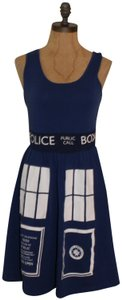 Hot Topic short dress BLUE WHITE Dr Who Gothic on Tradesy