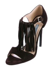 Prada Suede Fringe 9 Black Sandals