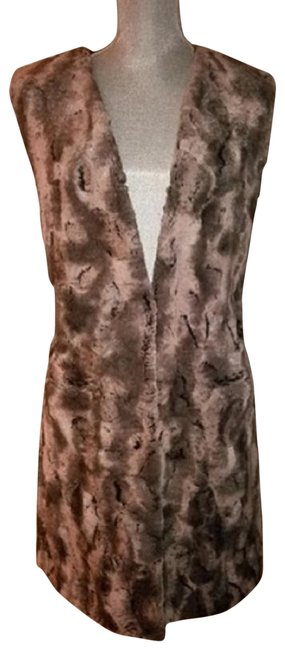 Item - Gray & Taupe Textured Faux Fur Sleeveless Vest Size 14 (L)