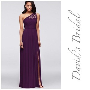 David's Bridal Long One Shoulder Lace - F17063 Formal Bridesmaid/Mob Dress Size 18 (XL, Plus 0x)