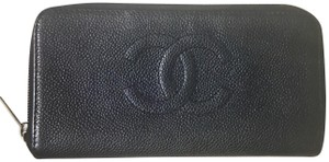 Chanel Chanel CC Pebbled Leather Wallet Clutch