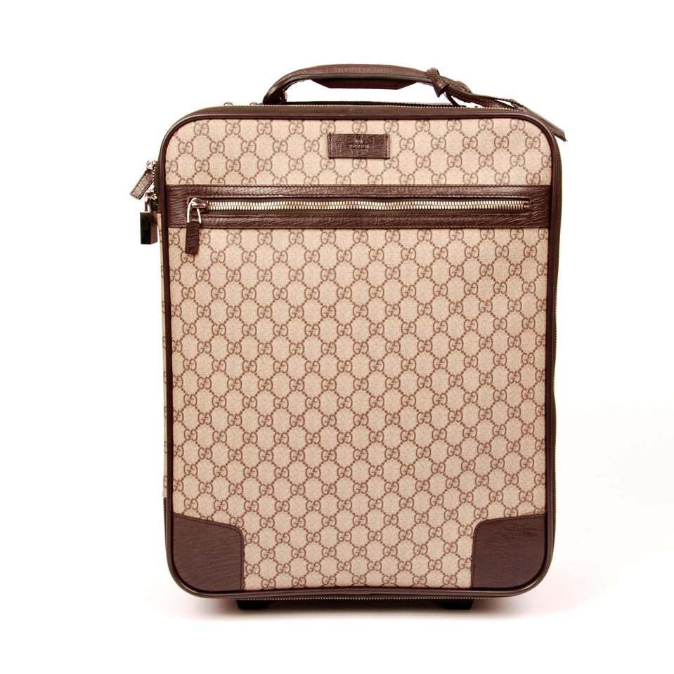 4843968f948d Gucci Webby Very Rare Monogram Roller Luggage 5897 Brown Canvas Weekend Travel  Bag