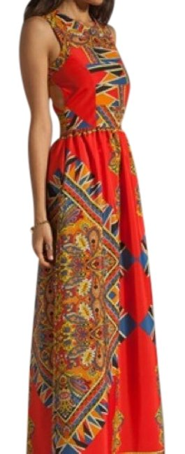Item - Red Multi-color Long Casual Maxi Dress Size 4 (S)
