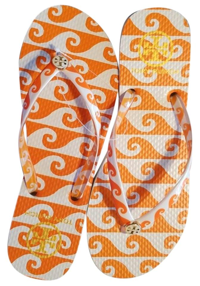 c4283e087 Tory Burch Orange and White Groove Wave Print Thin Flip Flop Sandals ...
