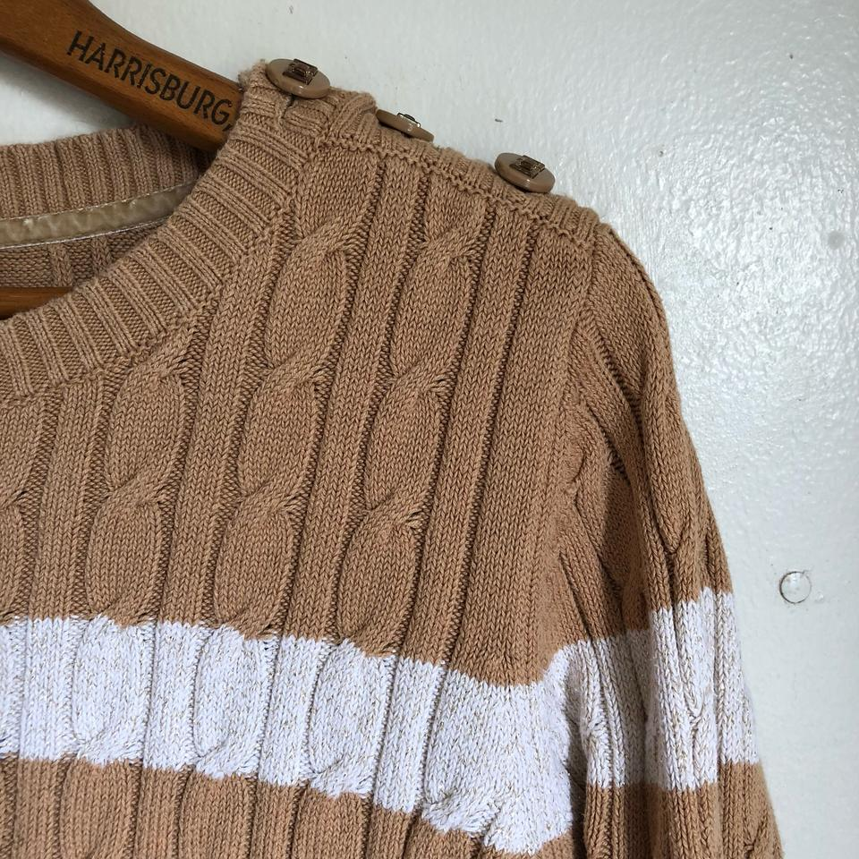f7f17352bce Charter Club Camel Tan White Gold Button Shoulder Cable Knit Sweater