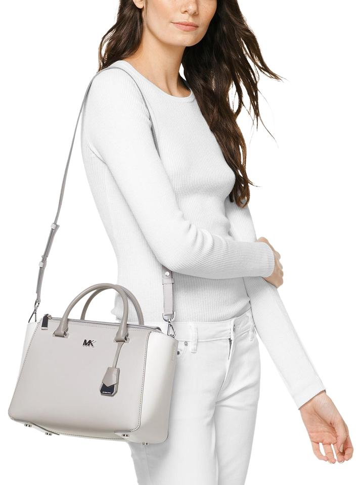 a4ea424ae96c42 Michael Kors Medium Nolita Color Block Smooth Leather Shoulder Satchel in  Aluminum/Optic White ...