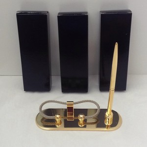 Gold Tone Set Of 3 Business Card and Pen Holder Groomsman Gift