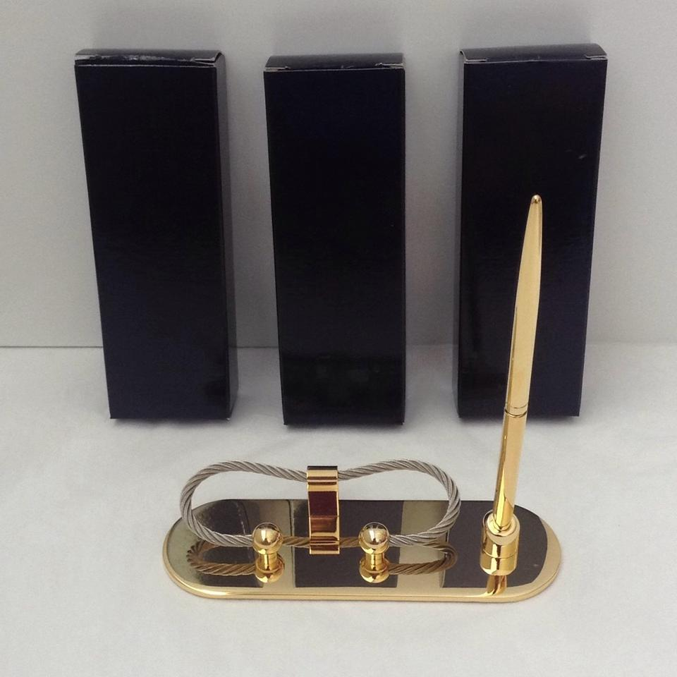 Gold tone set of 3 business card and pen holder groomsman gift tradesy gold tone set of 3 business card and pen holder groomsman gift colourmoves