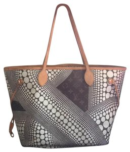 Louis Vuitton Sold Out Collectors Limited Edition Rare Neverfull Tote in White Pumpkin Dots Monogram