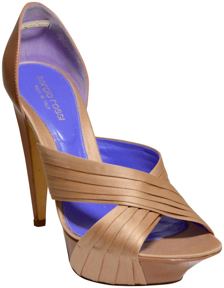 Sergio Rossi Leather Nude/Lilac New Crisscross Silk/Patent Leather Rossi Platforms 8b9f50