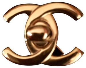 Chanel Chanel Large Gold Plated Turn Lock CC Brooch