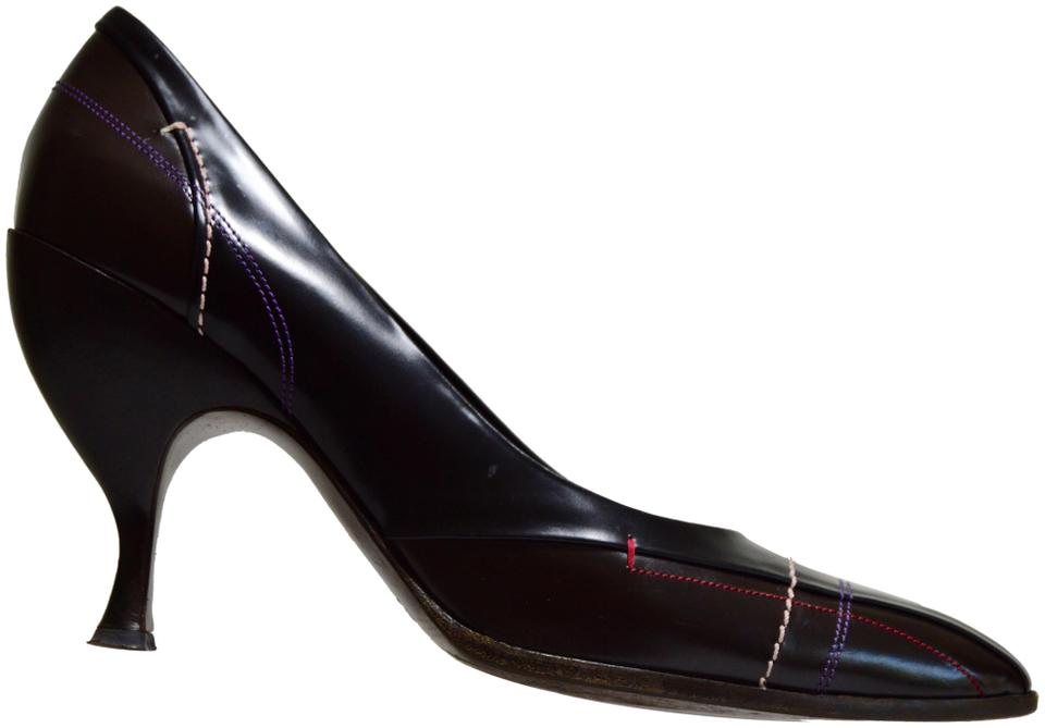 Prada Black Brown And Glossy Leather Contrast Stitching Pumps Size ...