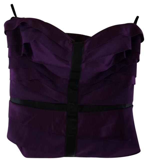 Item - Cropped Leather Bustier Purple Top