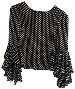 MILLY Top Black with White Polka Dots.