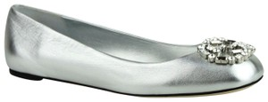 Gucci Leather Crystal Silver Metallic Flats