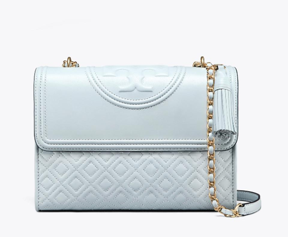 d6171733ec4 Tory Burch Fleming Seltzer Shoulder Cross Pale Blue Leather Shoulder ...