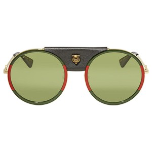 Gucci Gucci GG0061S 017 Red Green Metal Round Sunglasses Green Lens NEW!
