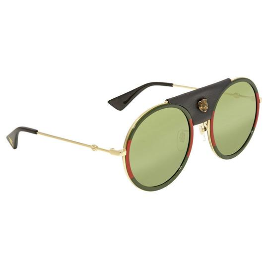 Gucci Gucci GG0061S 017 Red Green Metal Round Sunglasses Green Lens NEW! Image 3