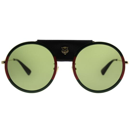 Gucci Gucci GG0061S 017 Red Green Metal Round Sunglasses Green Lens NEW! Image 4